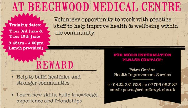 Volunteer opportunity to work with the practice staff to help improve health and wellbeing within the community
