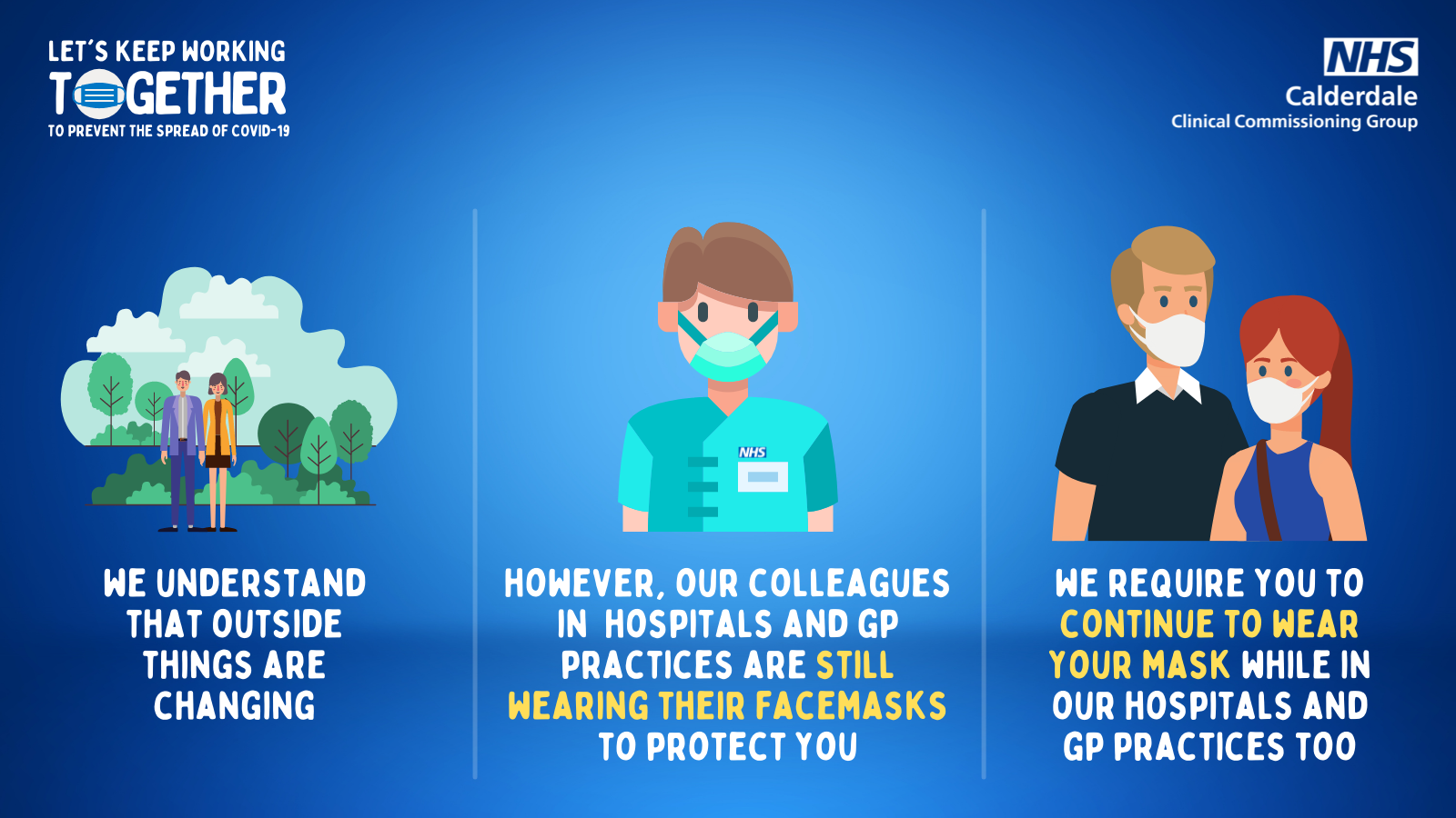 We understand that outside things are changing. However, our colleagues in hospitals and GP practices are still wearing their facemasks to protect you. We require you to continue to wear your mask while in our hospitals and gp practices too.